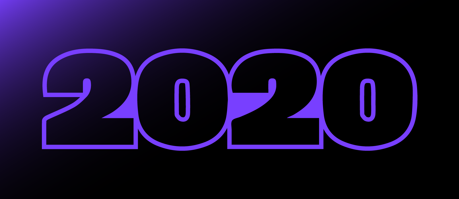 "Welcoming the Class of 2020 - Picture of ""2020"" in UNINCORPORATED's purple on black."