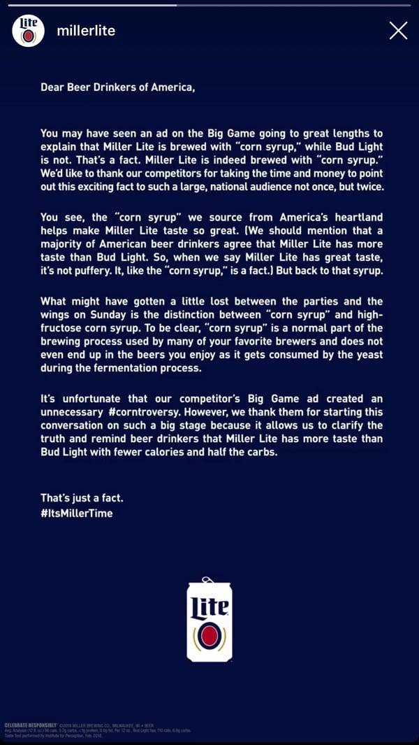 Miller Lite - Advertising Response