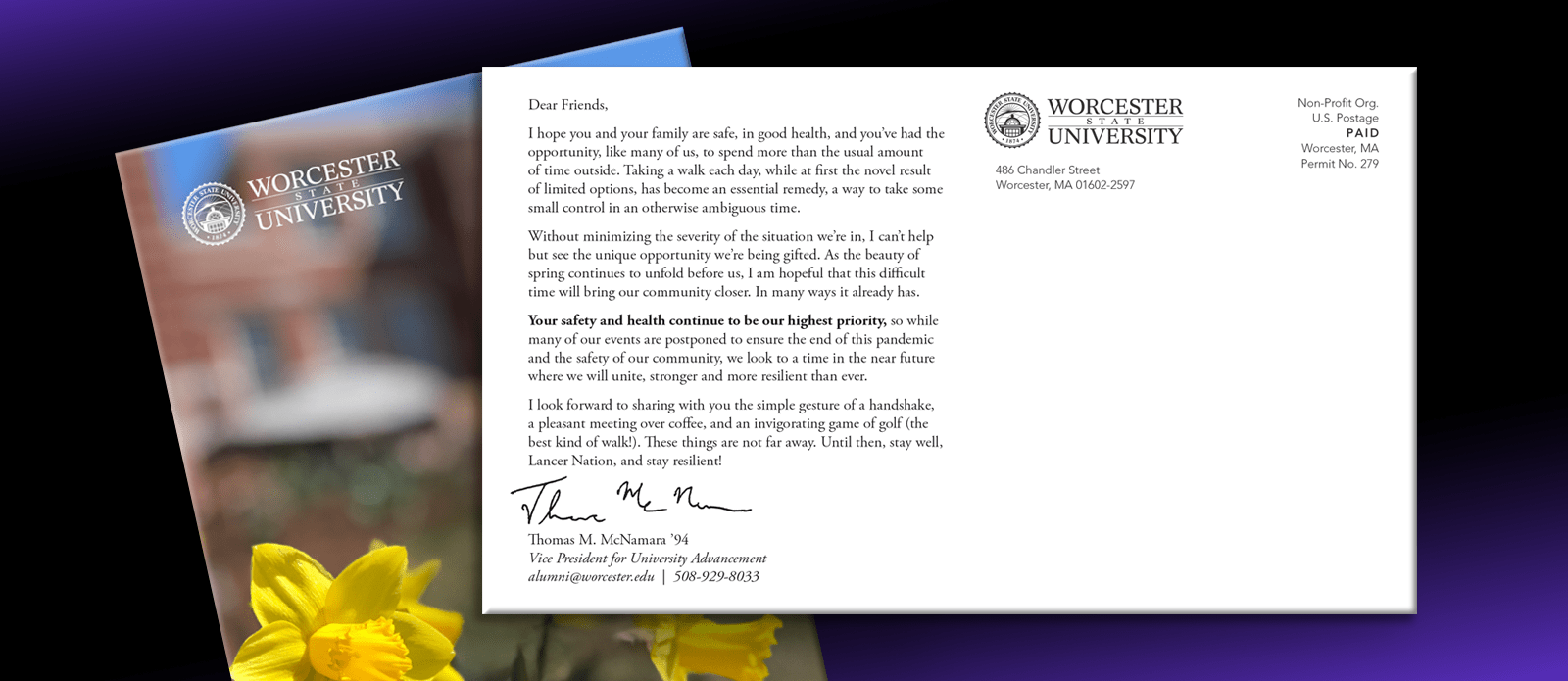 Worchester State University Postcard from Vice President Thomas McNamara